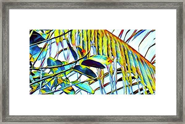 Fragment Of Palm In Blue Framed Print