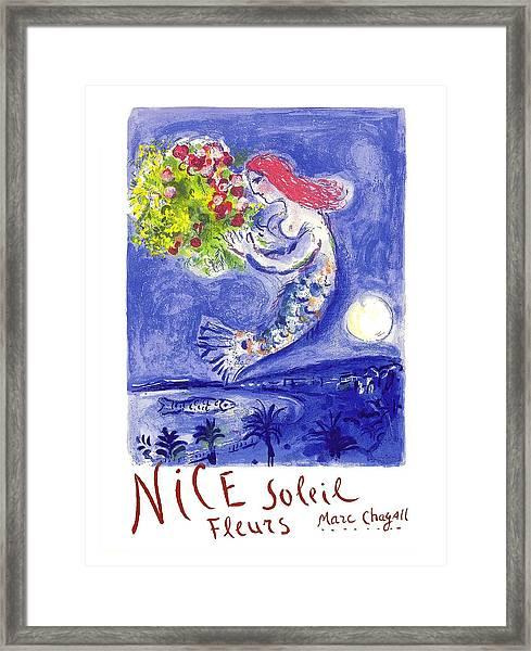France Nice Soleil Fleurs Vintage 1961 Travel Poster By Marc Chagall Framed Print