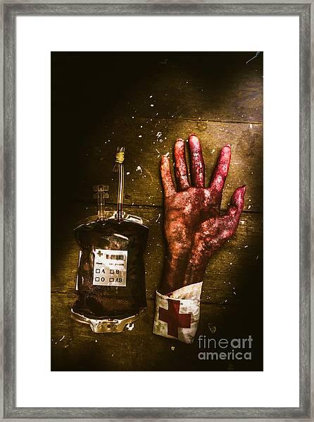 Frankenstein Transplant Experiment Framed Print