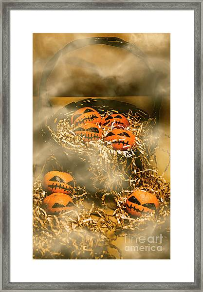 Freaky Halloween Fruits Framed Print