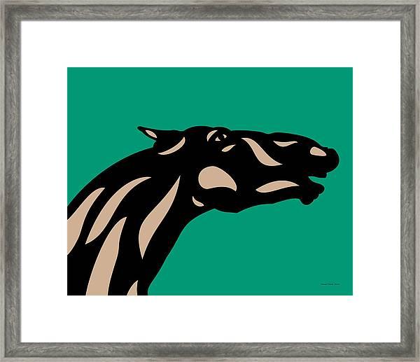 Fred - Pop Art Horse - Black, Hazelnut, Emerald Framed Print