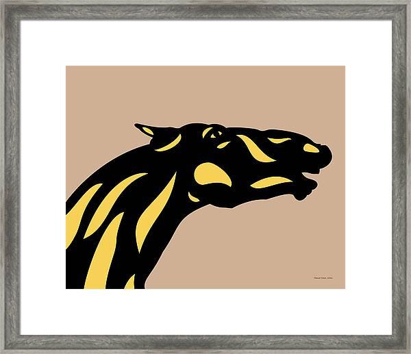 Fred - Pop Art Horse - Black, Primrose Yellow, Hazelnut Framed Print