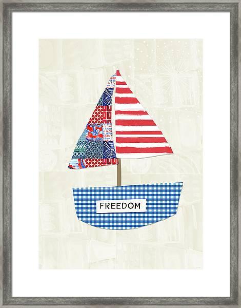 Freedom Boat- Art By Linda Woods Framed Print