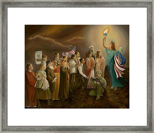 Freedom-liberty Lighting Our Way Framed Print