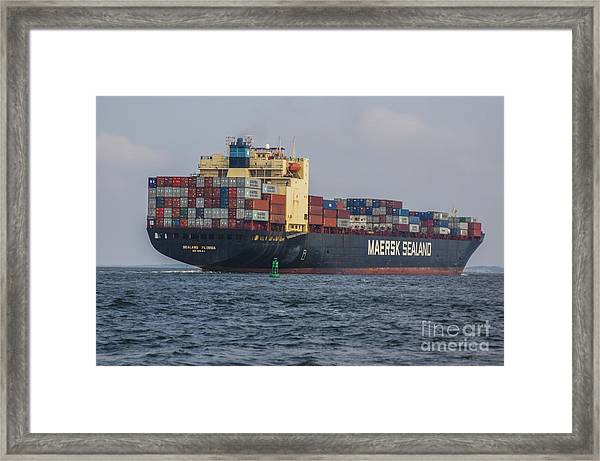 Freighter Headed Out To Sea Framed Print