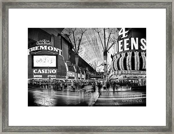 Fremont Street Casinos Bw Framed Print