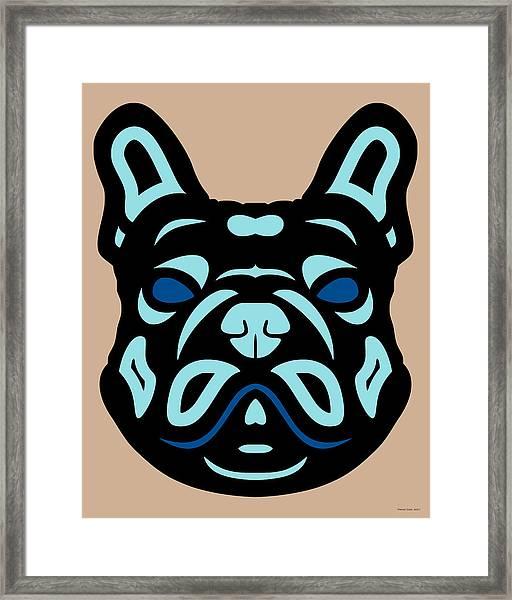 French Bulldog Francis - Dog Design - Hazelnut, Island Paradise, Lapis Blue Framed Print