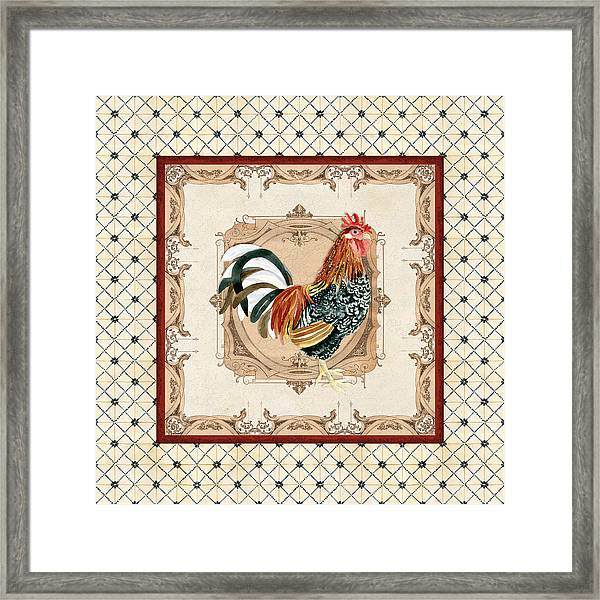 French Country Roosters Quartet Cream 1 Framed Print