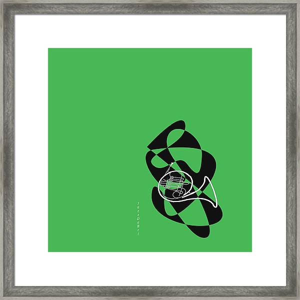French Horn In Green Framed Print