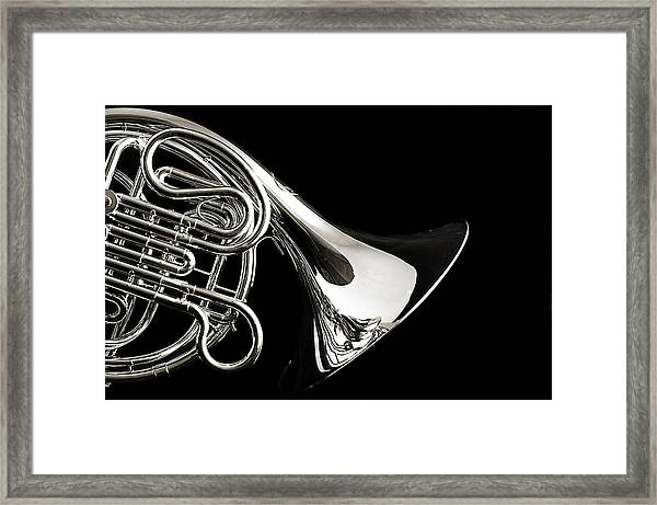 French Horn Isolated On Back Framed Print