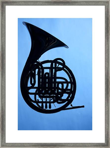 French Horn Silhouette On Blue Framed Print