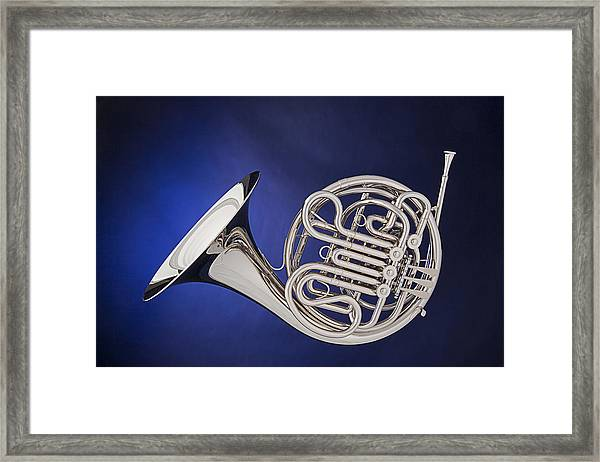 French Horn Silver Isolated On Blue Framed Print