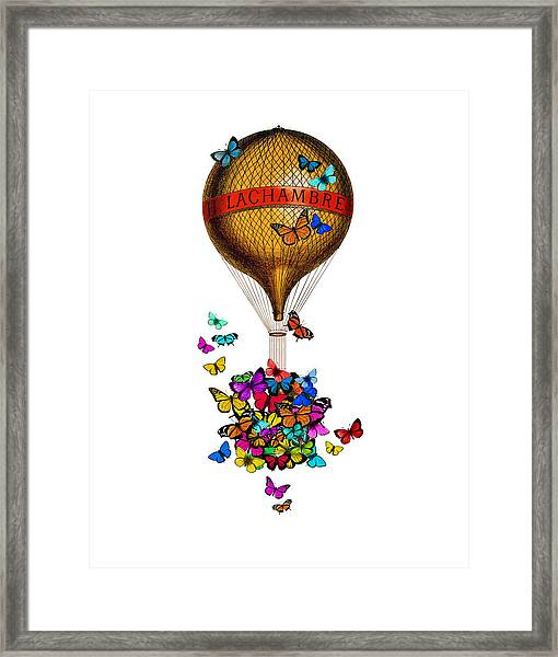 French Hot Air Balloon With Rainbow Butterflies Basket Framed Print