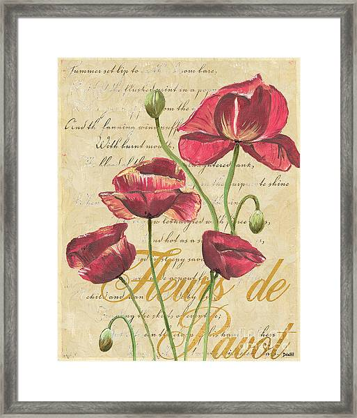 French Pink Poppies Framed Print
