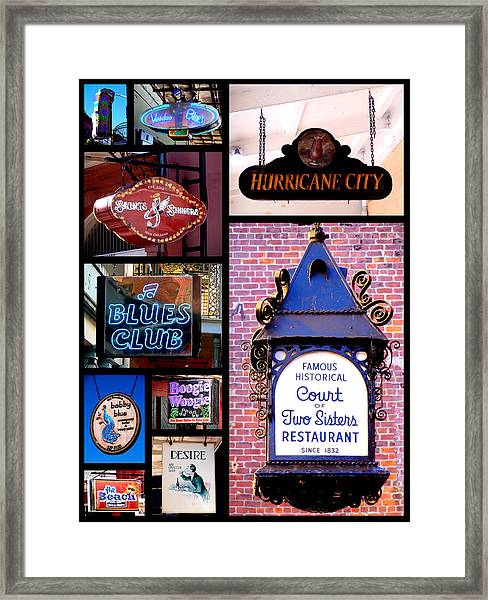 French Quarter Sign Collage Framed Print