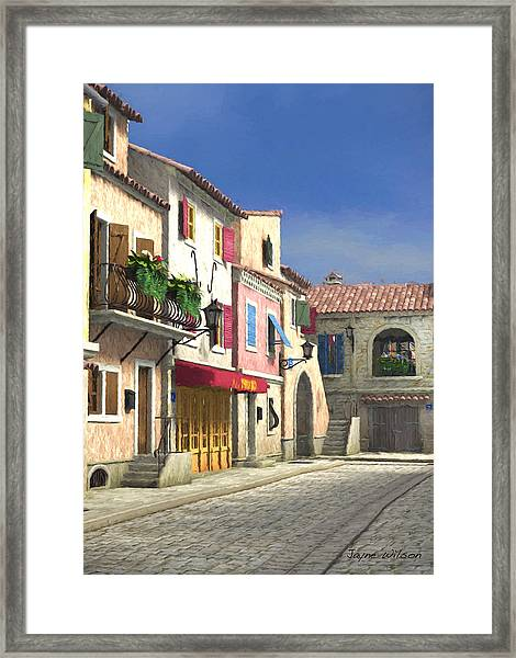 French Village Scene With Cobblestone Street Framed Print