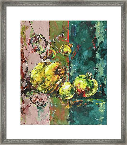 Fresh Quince And Pomegranate Framed Print