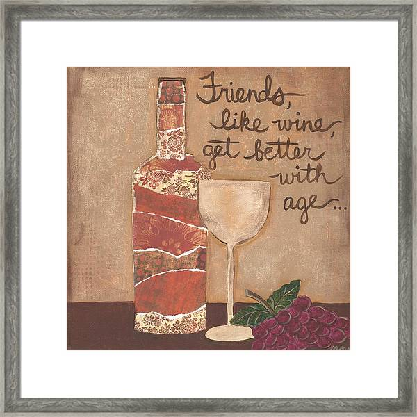 Friends And Wine Framed Print