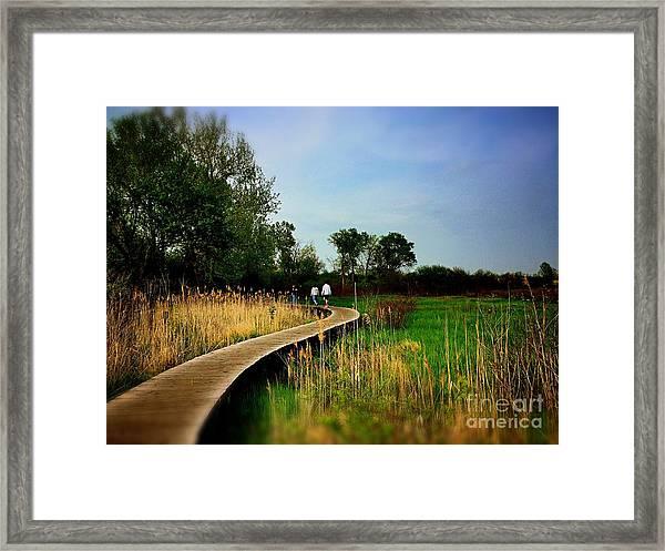 Friends Walking The Wetlands Trail Framed Print