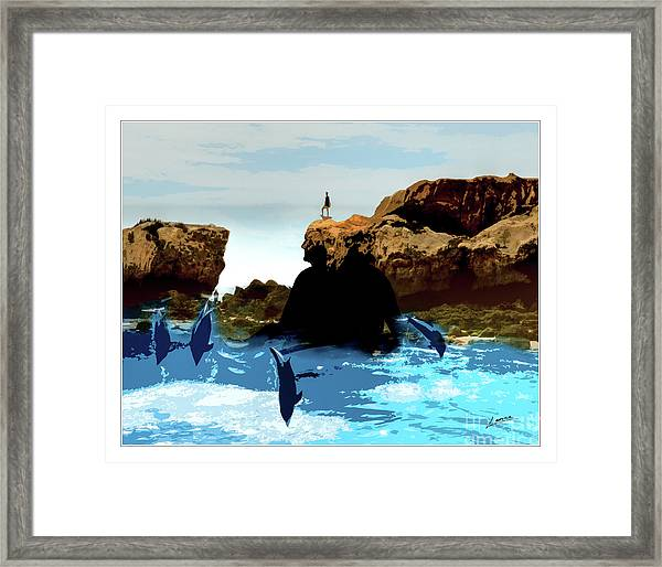 Friends With Dolphins In Colour Framed Print