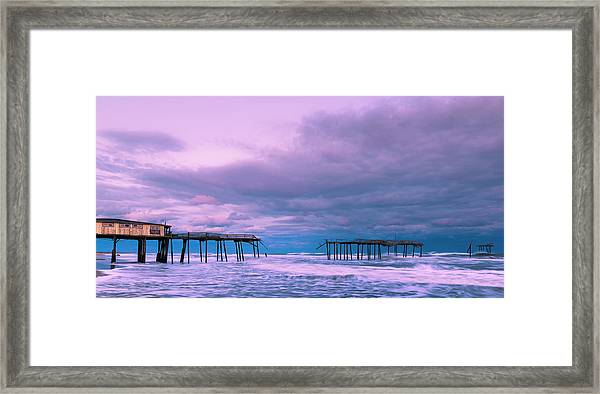 Framed Print featuring the photograph Frisco Fishing Pier And Clouds Panorama by Ranjay Mitra
