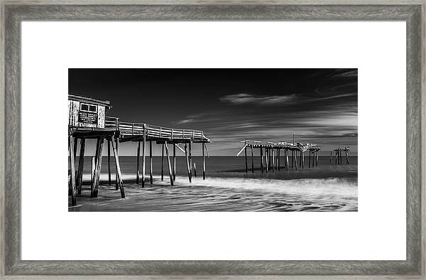 Framed Print featuring the photograph Frisco Fishing Pier In Black And White Panorama by Ranjay Mitra