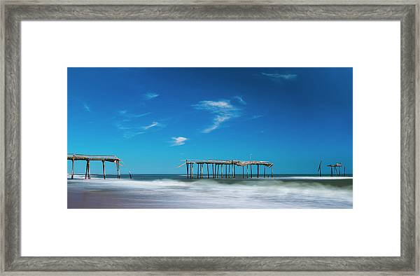 Frisco Fishing Pier In North Carolina Panorama Framed Print
