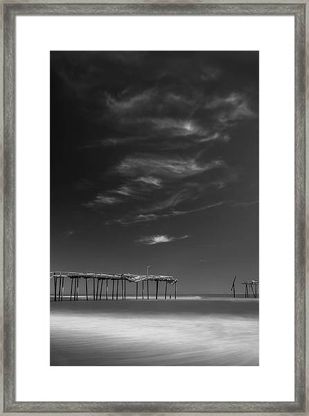 Framed Print featuring the photograph Frisco Pier In North Carolina And Clouds In Black And White by Ranjay Mitra