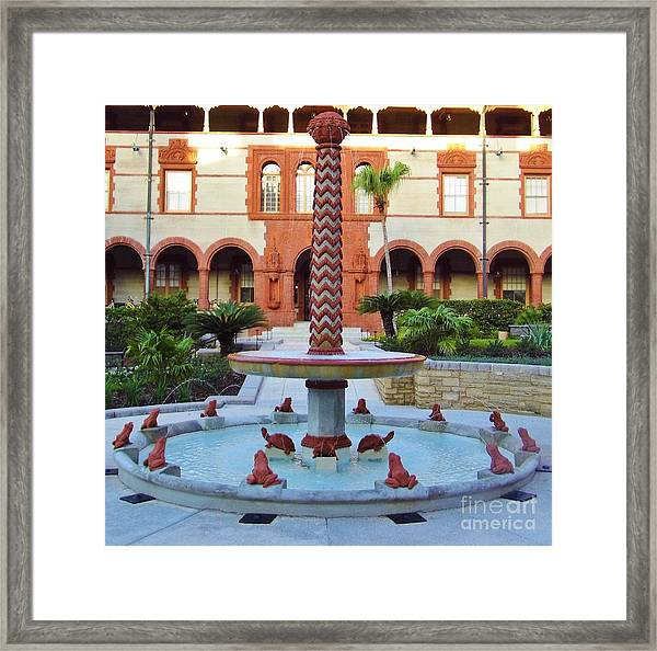 Frog Fountain Framed Print