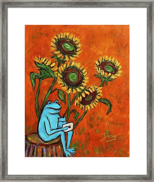 Frog I Padding Amongst Sunflowers Framed Print