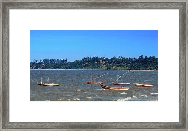 Frolicking Fishing Boats At Ketembe Framed Print