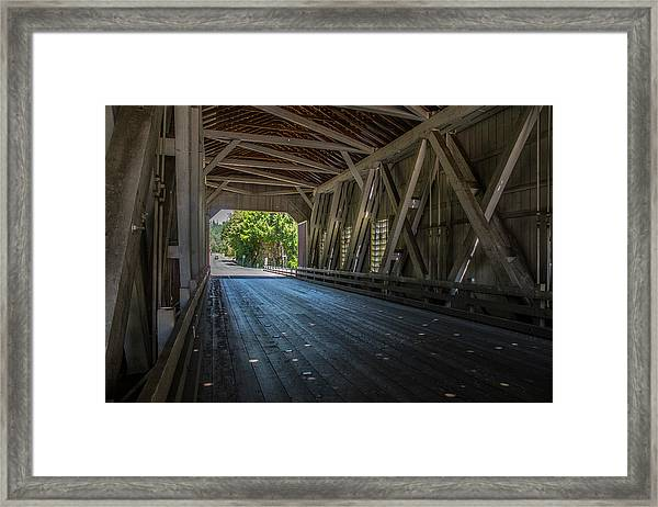 From The Inside Looking Out - Shimanek Bridge Framed Print