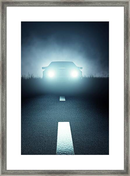 Front Car Lights At Night On Open Road Framed Print