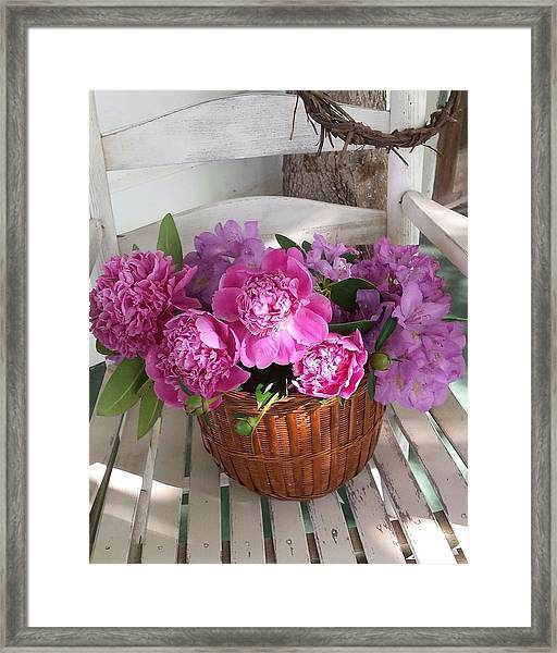 Front Porch Peonies Framed Print