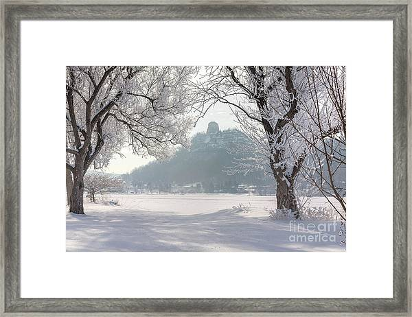 Framed Print featuring the photograph Frosty Sugarloaf Between Trees by Kari Yearous