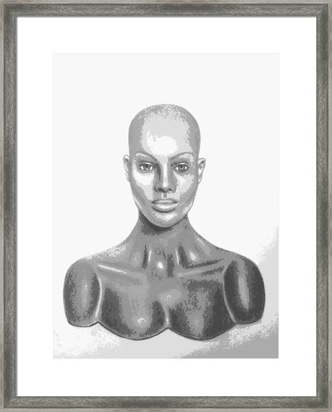 Superficial Bald Woman Art Charcoal Drawing  Framed Print