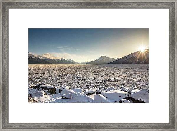 Frozen Fjord Sunrise Framed Print