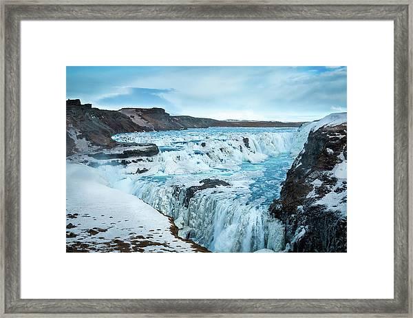 Frozen Gullfoss Framed Print