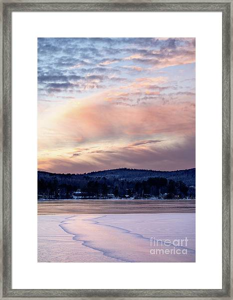 Frozen Lake Sunset In Wilton Maine  -78096-78097 Framed Print