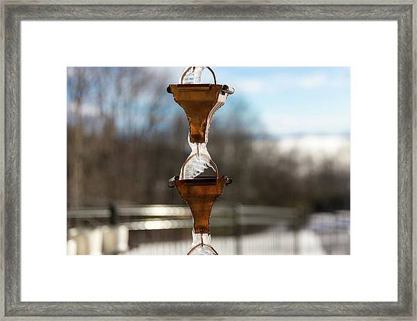 Framed Print featuring the photograph Frozen Rain Chains by D K Wall