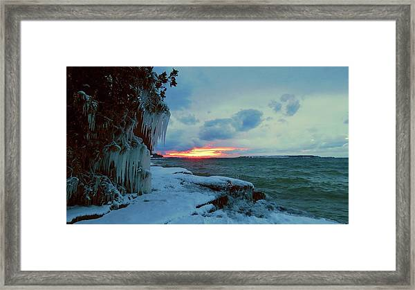 Frozen Sunset In Cape Vincent Framed Print