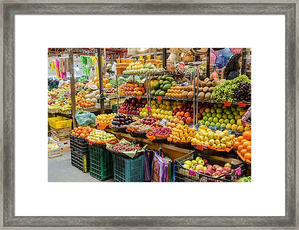 Fruit Stall In A Guanajuato Market, Framed Print