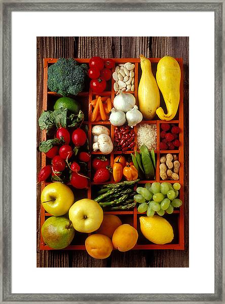 Fruits And Vegetables In Compartments Framed Print