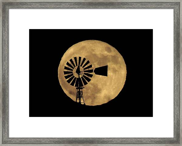 Full Moon Behind Windmill Framed Print