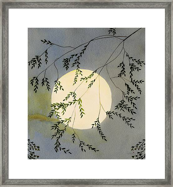 Framed Print featuring the painting Moon And Tree Branch Painting by Dee Browning