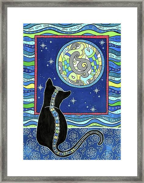 Pisces Cat Zodiac - Full Moon Framed Print