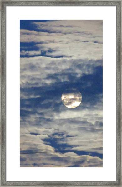 Full Moon In Gemini With Clouds Framed Print