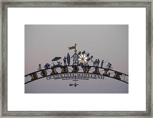 Full Moon In The Boardwalk Arch Ferris Wheel Framed Print