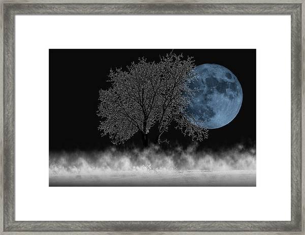 Full Moon Over Iced Tree Framed Print