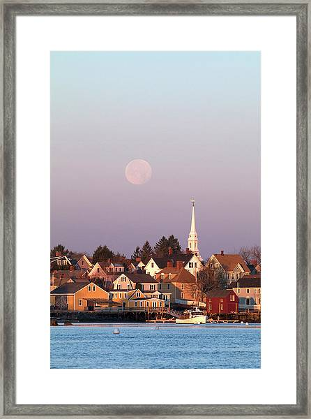 Full Moon Over Portsmouth Nh Framed Print by Eric Gendron